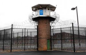 A prison tower as a omniscient monitor of all surrounding activity, ensuring that peace is kept.